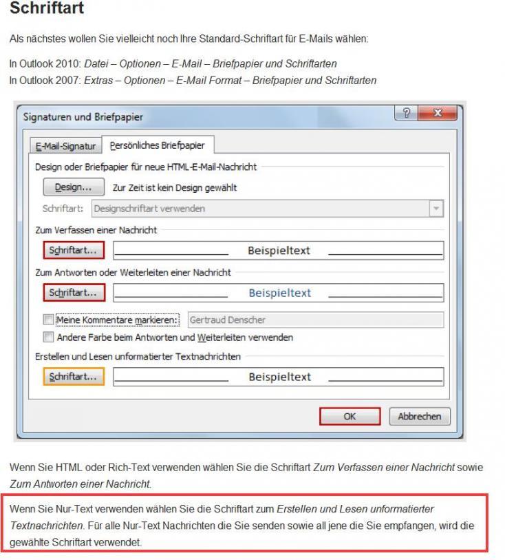 Outlook standard schriftart