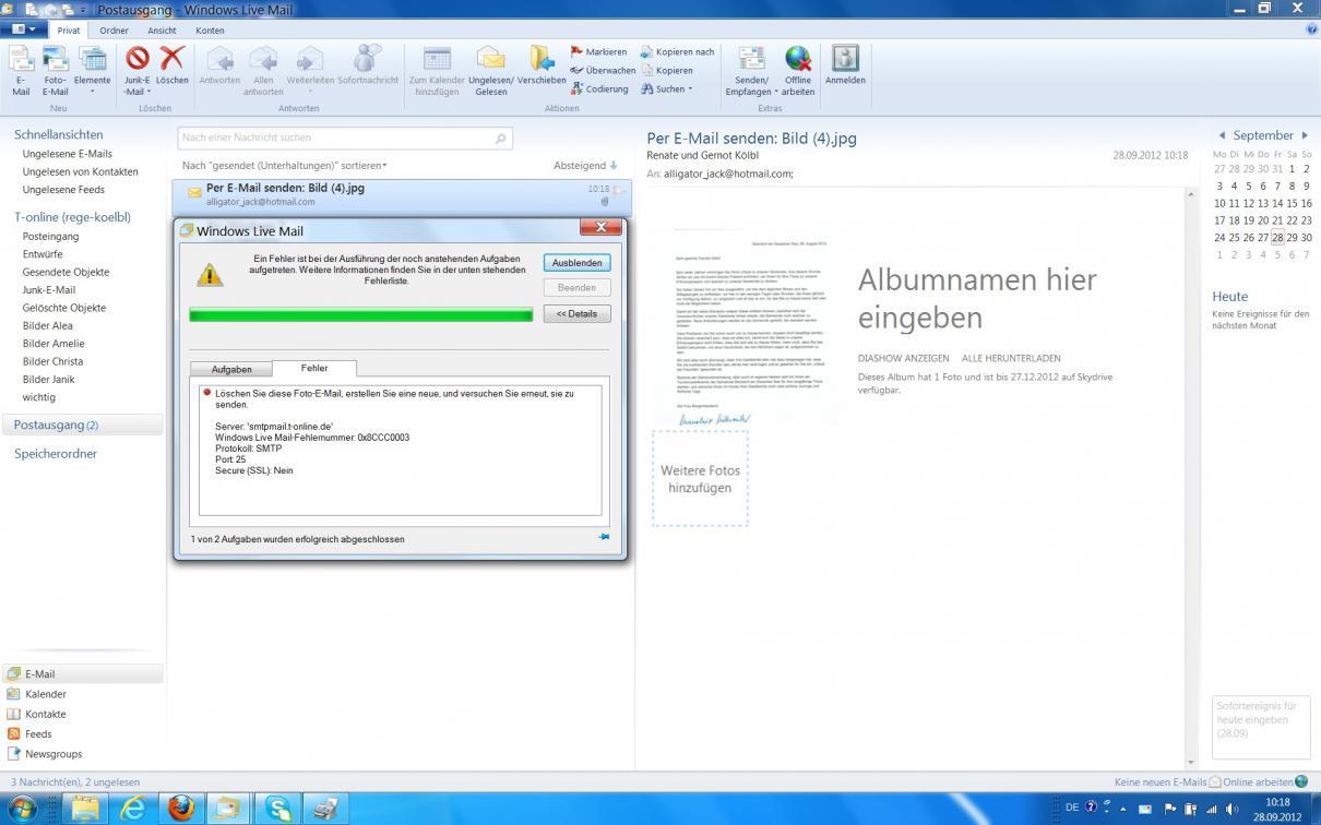 Fehler beim Senden von E-Mail mit Windows Live Mail